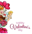Side vertical border with sketch Valentines Day vector image vector image