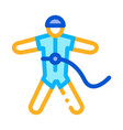 skydiver with insurance icon outline vector image