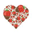strawberries in chocolate in heart vector image vector image