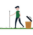 the man cleans the lawn from debris vector image