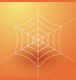 white spider web on an orange background vector image vector image