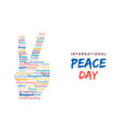world peace day card hand sign for freedom vector image
