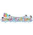 font design for word congratulations vector image