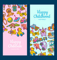 vertical banner or flyer templates with kid vector image