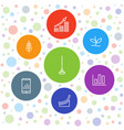 7 growth icons vector image vector image