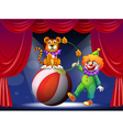 A tiger and a clown performing at the stage vector image