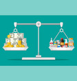 balance scales with money and drugs vector image vector image