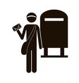 black silhouette postman with mailbox vector image