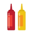 bottles of ketchup and mustard isolated on white vector image