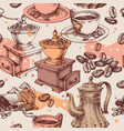 coffee seamless pattern coffee mill kettle and vector image