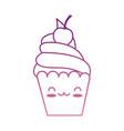 delicious cupcake kawaii character vector image