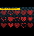 differents style red heart icon isolated vector image vector image