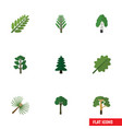 flat icon bio set of forest jungle alder and vector image