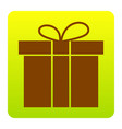 Gift box sign brown icon at green-yellow