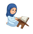 Girl Reading Quran The Holy Book of Islam vector image vector image