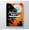 Halloween Party Flyer Design with bats and moon vector image vector image