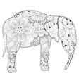hand drawn zentangle elephant with mandala vector image vector image