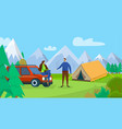 happy couple young man and woman travel camping vector image vector image