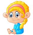 happy sitting girl cartoon vector image vector image