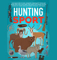 hunting sport equipment and wild animals vector image vector image