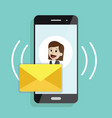 incoming message or email smartphone with sms vector image vector image