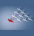leadership concept with origami red and white vector image