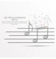 music note low poly wire frame on white background vector image