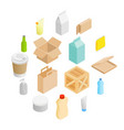 packaging isometric 3d icons set vector image vector image