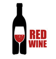 red wine bottle and cup label vector image vector image