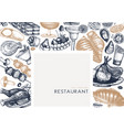 restaurant food frame hand drawn drinks meat vector image