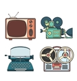 Retro tehnology colorfull lineart vector image vector image