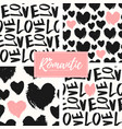 romantic seamless patterns set vector image