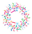 round colorful background music notes vector image vector image