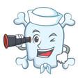 sailor with binocular skull character cartoon vector image