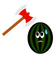 scared watermelon and axe on white background vector image vector image