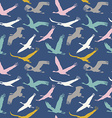 seamless pattern flying birds vector image vector image