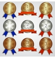 set of metallic badges with ribbons for the first vector image