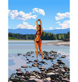 slim girl in a bathing suit standing vector image vector image