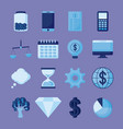 smartphone with set icons economy finance vector image vector image