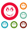 smile icons circle set vector image vector image