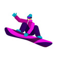 snowboarder in a sports winter suit makes a vector image vector image