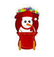 snowman on a christmas sledge vector image vector image