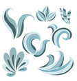 stylized blue waves set vector image vector image