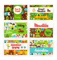 summer camping invitation template set vector image