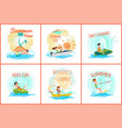 summer time posters collection vector image vector image
