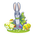 the easter bunny with a big ribbon and painted vector image