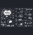 vintage chalk drawn menu design vector image