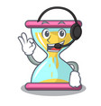 with headphone vintage hourglass isolated on the vector image