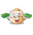 with money semla swedish cream bun on cartoon vector image vector image