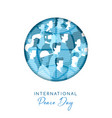 world peace day card for diverse people unity vector image vector image
